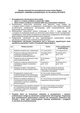 Zasady rekrutacji - Przedszkole Miejskie nr 5 w Będzinie