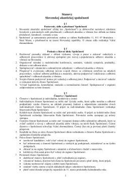stanovy Spoločnosti - Slovenská akustická spoločnosť