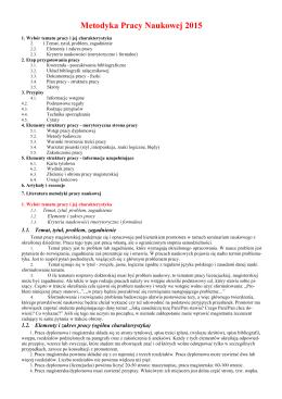 Metodyka Pracy Naukowej 2015