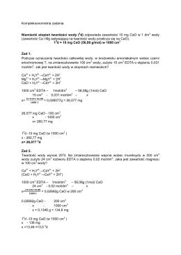 Kompleksonometria zadania Niemiecki stopień twardości wody (0d