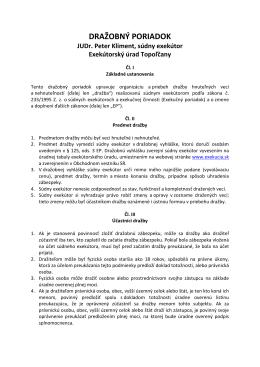 DRAŽOBNÝ PORIADOK - JUDr. Peter Kliment, súdny exekútor