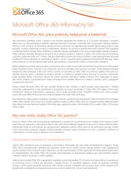 Microsoft Office 365 Informačný list