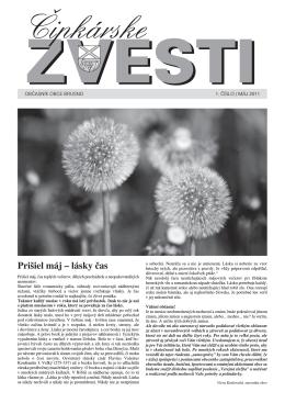 Čipkárske zvesti č.1 máj 2011