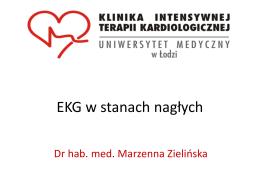 EKG w ostrych stanach kardiologicznych.