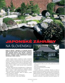 JAPONSKÉ ZÁHRADY NA SLOVENSKU