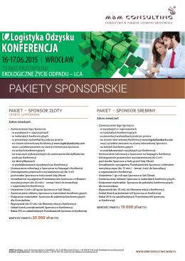 Zobacz pakiety sponsorskie - Konferencja Logistyka Odzysku