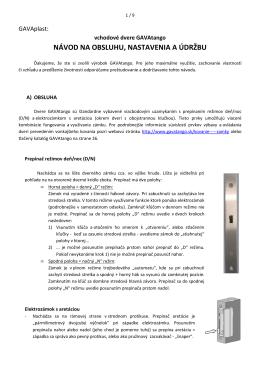 navod na obsluhu, nastavenia a udrzbu GAVAtango 2014-03