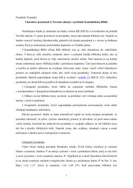 Charakter poznámok k Novému zákonu v preklade Kamaldulskej