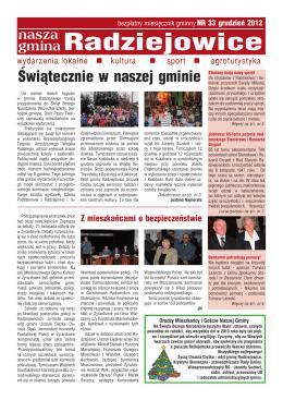 bezpłatny miesięcznik gminny NR 33/Grudzień/2012