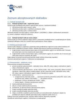 Zoznam dokladov akceptovaných pri registrácii