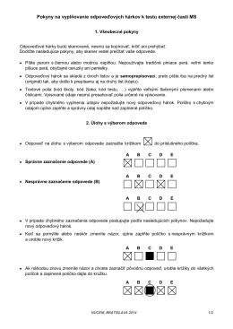 Pokyny na vyplňovanie odpoveďových hárkov k testu