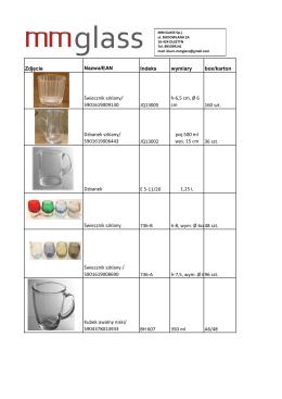 Zdjęcie Nazwa/EAN Indeks wymiary box/karton Świecznik szklany