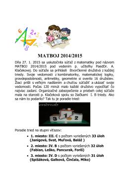 MATBOJ 2014/2015