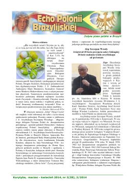Kurytyba, marzec - kwiecień 2014, nr 2(28), 2/2014 Jedyne pismo