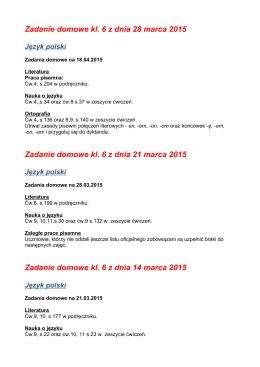 Zadanie domowe kl. 6 z dnia 21 marca 2015 Zadanie domowe kl. 6
