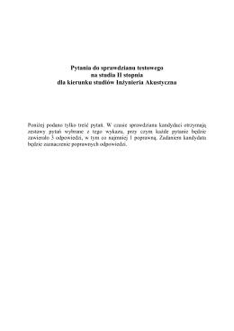 Pytania do sprawdzianu testowego na studia II stopnia - IMiR