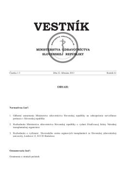 Odborné usmernenie Ministerstva zdravotníctva Slovenskej