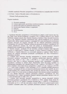 Zápisnica z 2. zasadnutia Obecného zastupiteľstva
