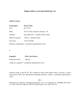 Kúpna zmluva o prevode hnuteľnej veci - JUDr. Ján