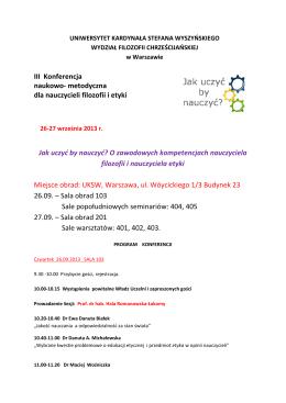 PROGRAM KONFERENCJI.pdf - jakuczyc.uksw.edu.pl