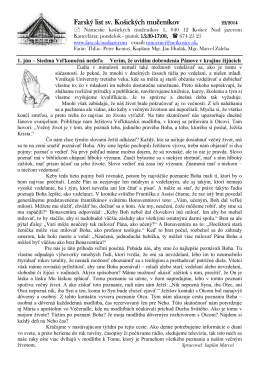 1. Jún 2014 - Farnosť sv. košických mučeníkov