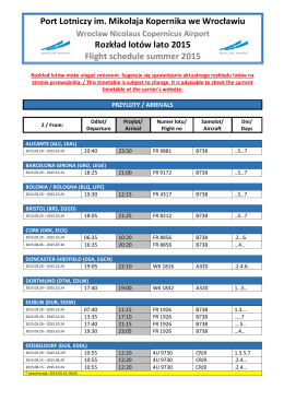 rozkład lotów WRO - lato 2015 (2015 02 16)