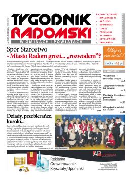 """Spór Starostwo - Miasto Radom grozi... """"rozwodem""""?"""