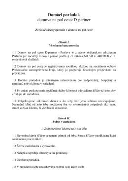 Domáci poriadok domova na pol ceste D-partner (PDF)