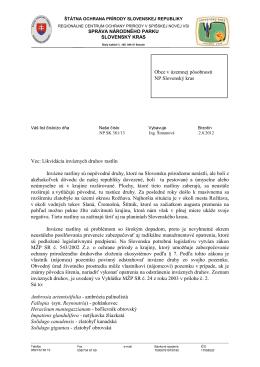 Invázne druhy rastlín - list Správy NP Slovenský kras z 2.8