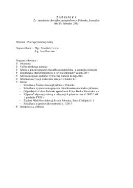 Zasadnutie OZ 19.02.2015
