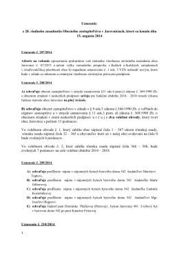 Uznesenia 28 - Obec Jarovnice