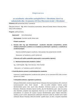 Zápisnica zo zasadnutia obecného zastupiteľstva 22.1.2014
