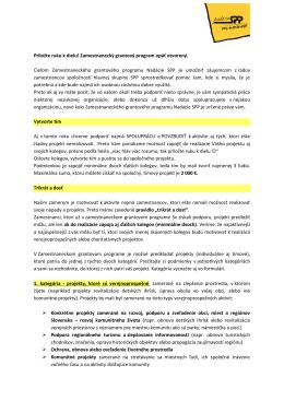 Podrobné informácie o kritériách a požiadavkách