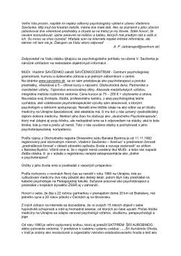 MUDr. Vladimír Savčenko – SAVČENKOCENTRUM