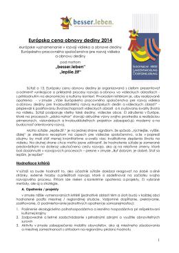 Európska cena obnovy dediny 2014