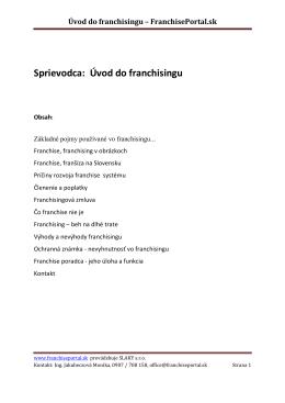 Sprievodca: Úvod do franchisingu