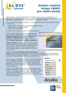 Prospekt Systém riadenia skladu pre väčšie sklady