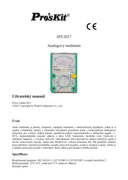 MT-2017 Analogový multimetr Uživatelský manuál