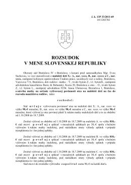 ROZSUDOK V MENE SLOVENSKEJ REPUBLIKY
