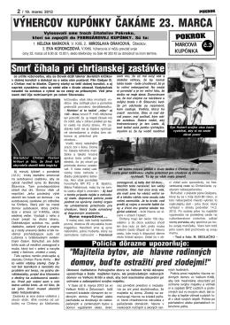 VÝHERCOV KUPÓNKY ČAKÁME 23. MARCA