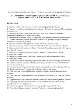 szkolna lista tematów prezentacji w części ustnej egzaminu