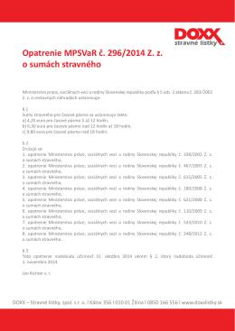 Opatrenie MPSVaR č. 296/2014 Z. z. o sumách stravného