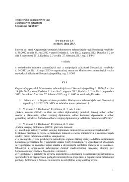 1 Ministerstvo zahraničných vecí a európskych záležitostí