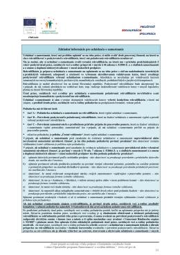 Základné informácie pre uchádzača o zamestnanie