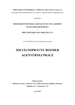 sociálnoprávny rozmer agentúrnej práce
