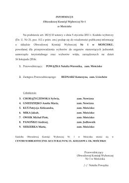 INFORMACJE Obwodowych Komisji Wyborczych Nr 1/2/3 z dnia 30