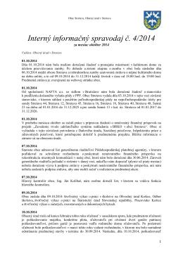 Interný informačný spravodaj č. 4/2014