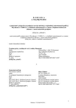 DOHODA č. 52/§ 50j/NS/2014