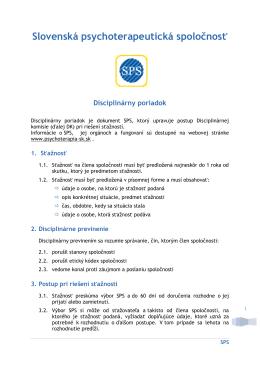 Disciplinárny poriadok [pdf] - Slovenská psychoterapeutická