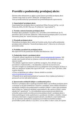 Pravidlá a podmienky predajnej akcie: